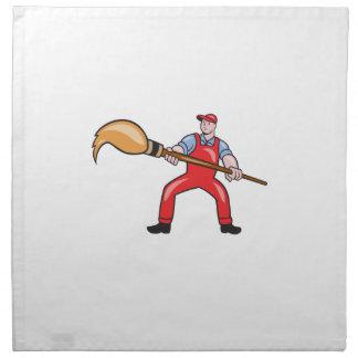 Artist Painter Standing Giant Paintbrush Cartoon Napkin