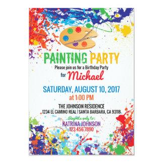 Artist Palette Paint Splashes Birthday 13 Cm X 18 Cm Invitation Card
