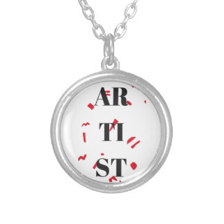 Artist Red Speck Design Illustration Text Round Pendant Necklace