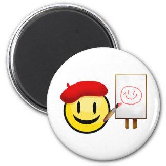 Artist Smiley 6 Cm Round Magnet