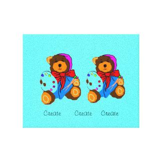 Artist Teddy Bear  canvas Canvas Print