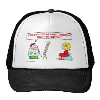 artist unbutton top button hats