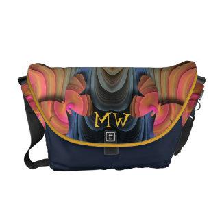 Artistic Abstract, Butterflies, Monogram Messenger Bags