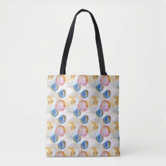 Artistic abstract circle design, pink brushes tote bag