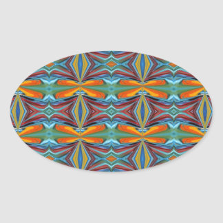 Artistic Abstract  Rainbow of Colors Design Oval Stickers