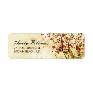 Artistic Autumn Leaves Return Address Labels