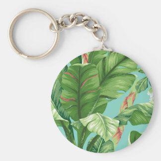 Artistic Banana Leaf & flower watercolor painting Basic Round Button Key Ring