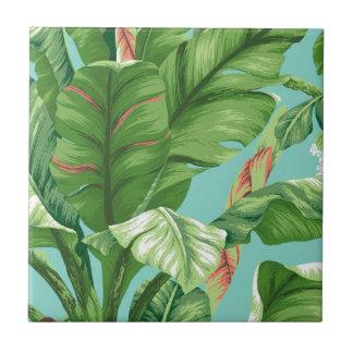 Artistic Banana Leaf & flower watercolor painting Ceramic Tile