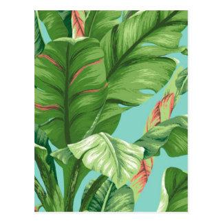 Artistic Banana Leaf & flower watercolor painting Postcard