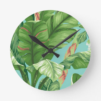 Artistic Banana Leaf & flower watercolor painting Round Clock