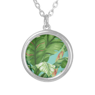 Artistic Banana Leaf & flower watercolor painting Silver Plated Necklace