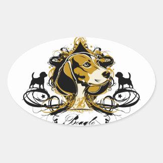 Artistic Beagle Hound Dog Breed Design Oval Sticker