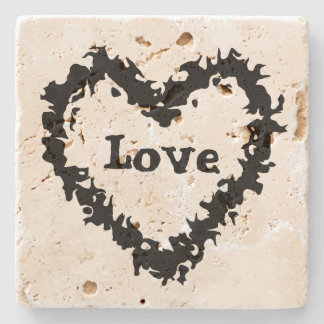 Artistic black abstract love heart design stone coaster