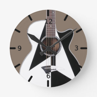 Artistic Black and White Dean Guitar Round Clock