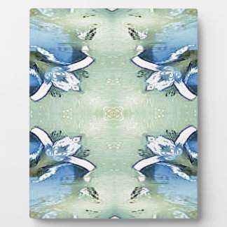 Artistic Blue Green Personalizable Chic  Pattern Plaque