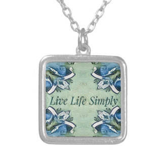 Artistic Blue Green Positive Life Modern Pattern Silver Plated Necklace