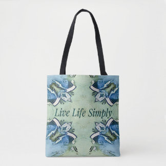 Artistic Blue Green Positive Life Modern Pattern Tote Bag