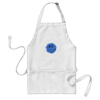 Artistic blue paint splat smiley face apron
