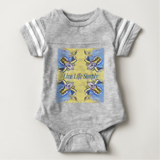 Artistic Blue Yellow Positive Life Funky Pattern Baby Bodysuit