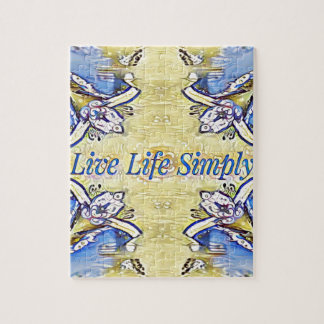 Artistic Blue Yellow Positive Life Funky Pattern Jigsaw Puzzle