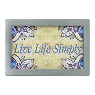 Artistic Blue Yellow Positive Life Funky Pattern Rectangular Belt Buckles