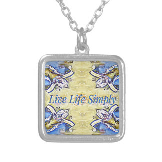 Artistic Blue Yellow Positive Life Funky Pattern Silver Plated Necklace
