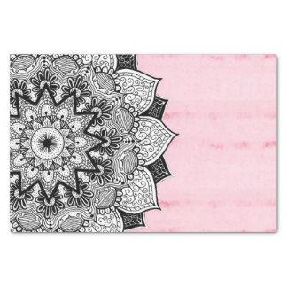 Artistic Boho Hand Drawn Mandala on Pink Tie Dye Tissue Paper