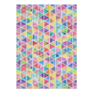 Artistic bright multicolor watercolor triangles poster