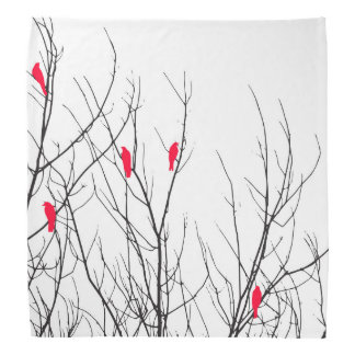Artistic Bright Red Birds on Tree Branches Head Kerchief