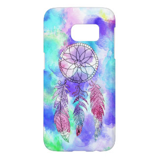 Artistic bright teal pink watercolor dream catcher