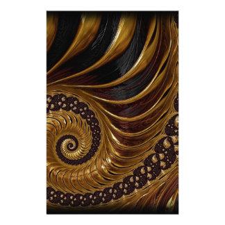 Artistic brown fractal design custom stationery