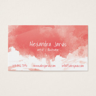 Artistic Brushed Watercolour - Red Business Card