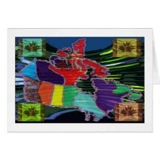 Artistic Canadian Map and MapleLeaf Card