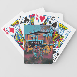 Artistic Carriage in Front Of Farmhouse Bicycle Playing Cards