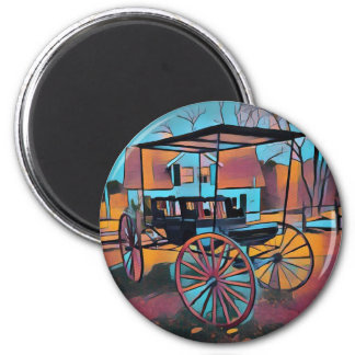 Artistic Carriage in Front Of Farmhouse Magnet