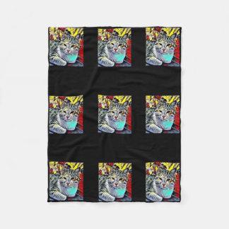 Artistic Cat Fleece Blanket