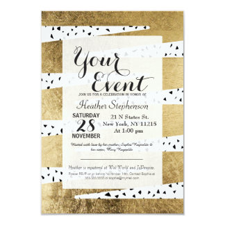 Artistic Chic Gold & Black Zigzag & Abstract Card