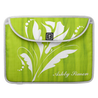 Artistic Citrus Green and White Flower Monogram MacBook Pro Sleeves