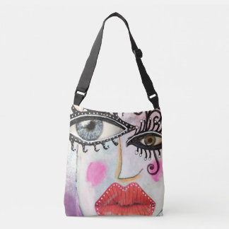 Artistic Collage Graffiti Big Eyes Red Lips Bright Crossbody Bag