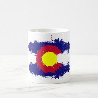 Artistic Colorado flag paint splatter coffee mug