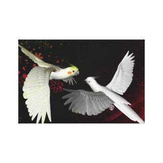 Artistic colorful parrots design stretched canvas prints