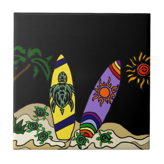Artistic Colourful Surfboards Surfing Art Ceramic Tile