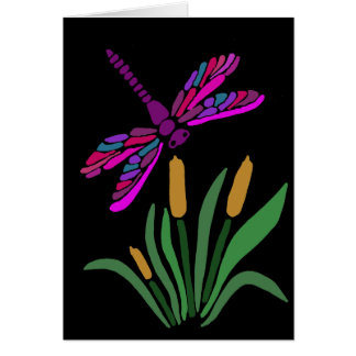 Artistic Cool Dragonfly Abstract Art Card