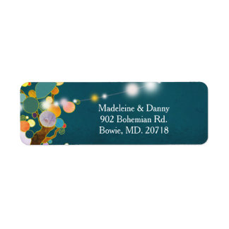 Artistic Country trees Teal Wedding Return Address Return Address Label