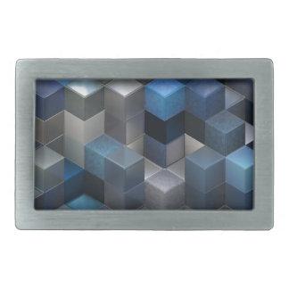 artistic cubes 9 blue (I) Belt Buckle