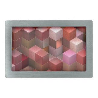artistic cubes 9 pink red (I) Rectangular Belt Buckles