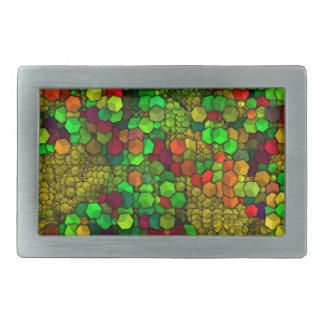 artistic cubes green (I) Rectangular Belt Buckles
