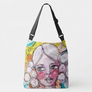 Artistic Cute Girl Portrait Bubble Blue Yellow Fun Crossbody Bag
