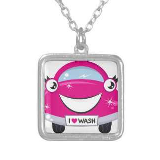 ARTISTIC DESIGNERS TSHIRT WITH PINK CAR SILVER PLATED NECKLACE