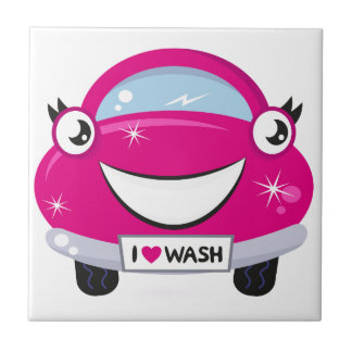 ARTISTIC DESIGNERS TSHIRT WITH PINK CAR SMALL SQUARE TILE